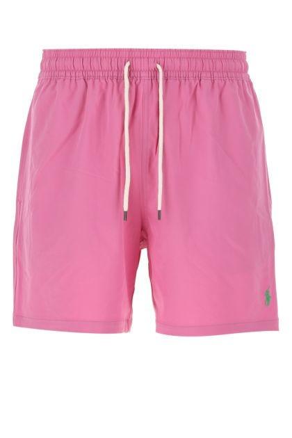 Dark pink stretch polyester swimming shorts