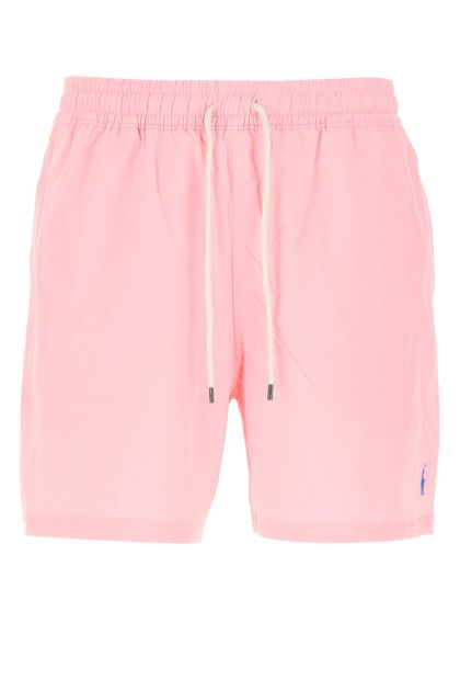 Pink stretch polyester swimming shorts