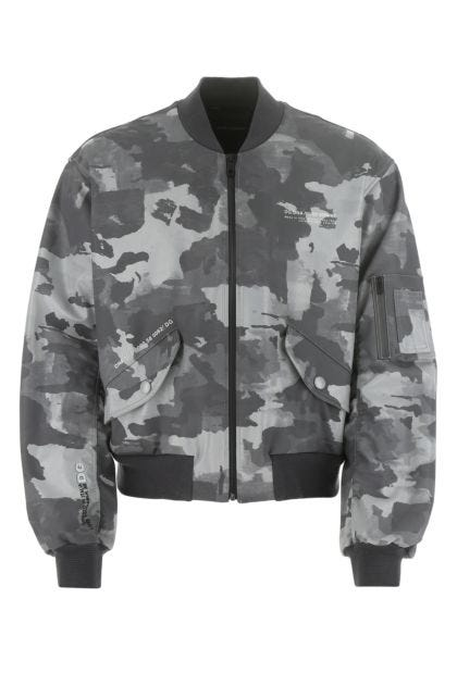 Printed cotton blend bomber