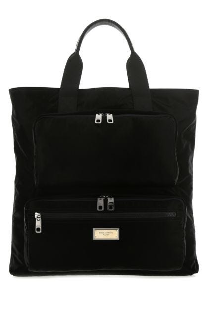Black nylon handbag