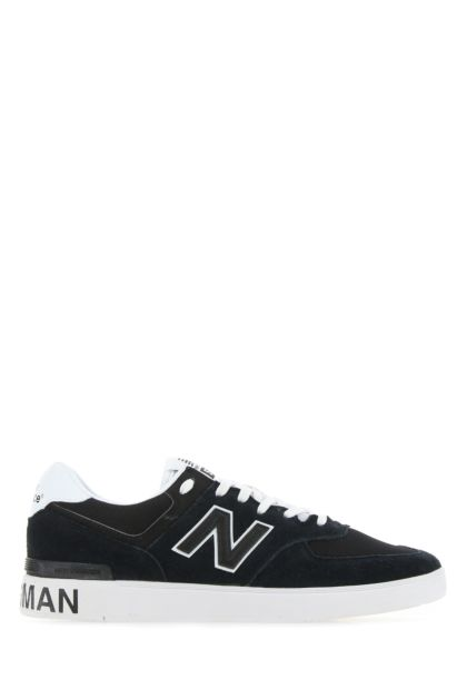 Two-tone fabric and leather 574 sneakers