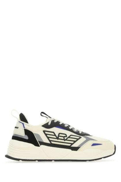 Multicolor fabric and leather sneakers