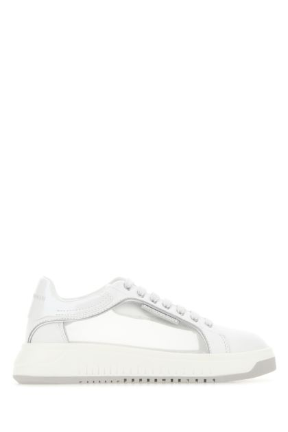 White leather and fabric sneakers