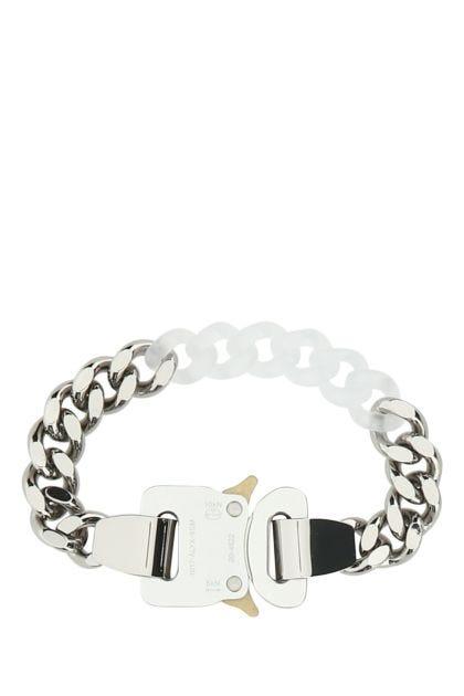 Silver metal and nylon bracelet