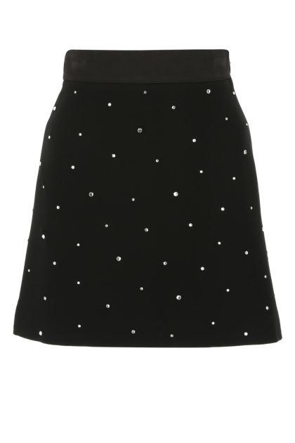 Black viscose mini skirt
