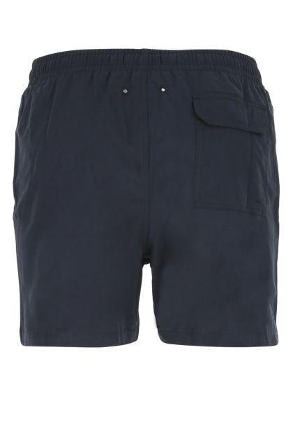 Navy blue cotton blend swimming shorts
