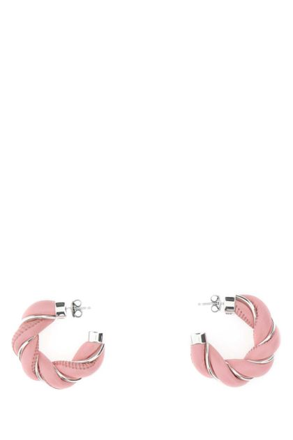 Pink and 925 silver nappa leather earrings