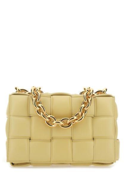 Pastel yellow nappa leather Chain Cassette crossbody bag
