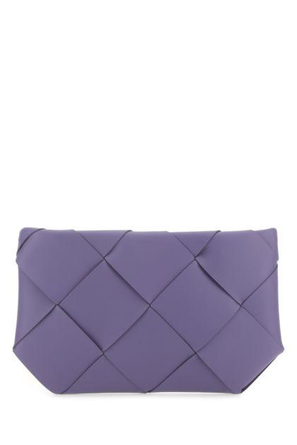 Lilac nappa leather clutch