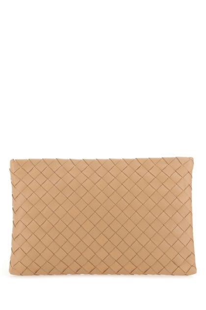 Skin pink nappa leather clutch