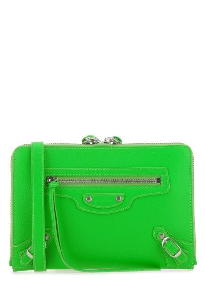 Fluo green leather Neo Classic pouch