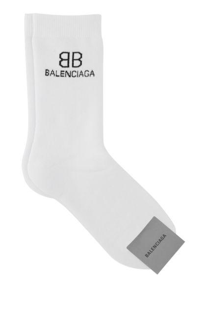 White stretch cotton blend socks