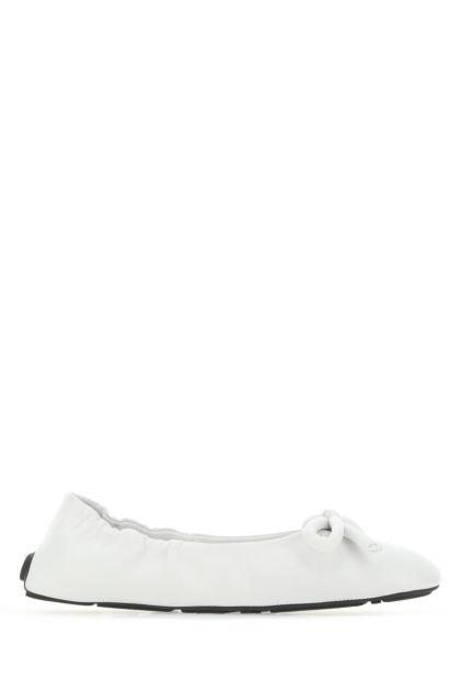 White nappa leather ballerinas