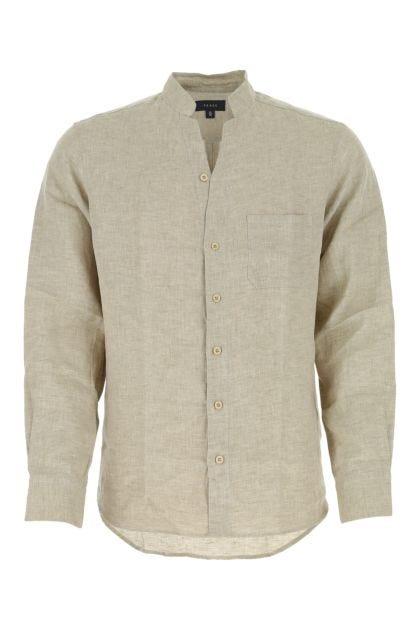 Melange dove grey linen shirt