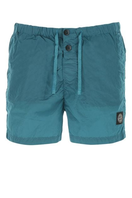 Teal nylon swimming shorts