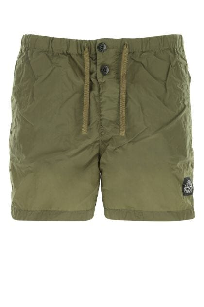 Army green nylon swimming shorts