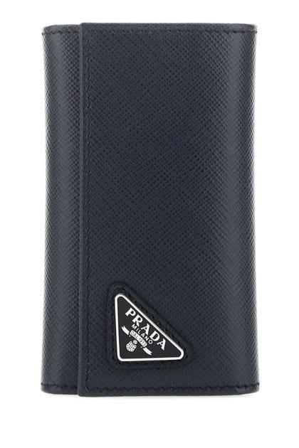 Navy blue leather key ring case