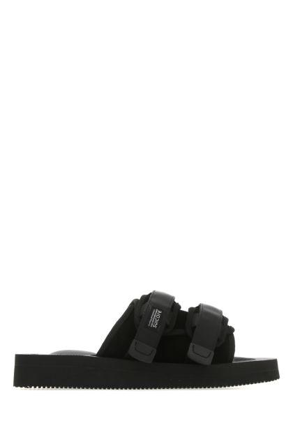 Black suede Moto-VS slippers