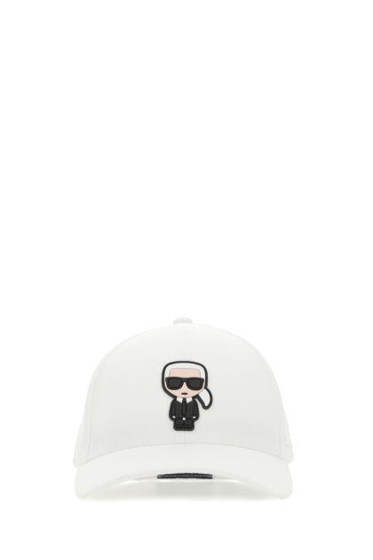 White stretch polyester baseball cap