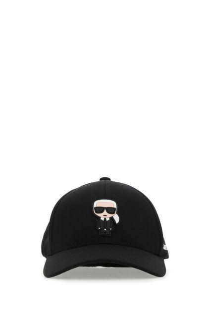 Black stretch polyester baseball cap