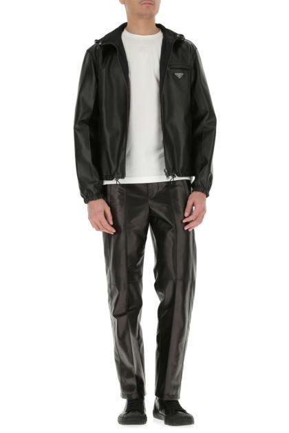 Black leather reversible jacket