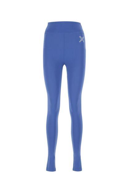 Blue stretch nylon leggings