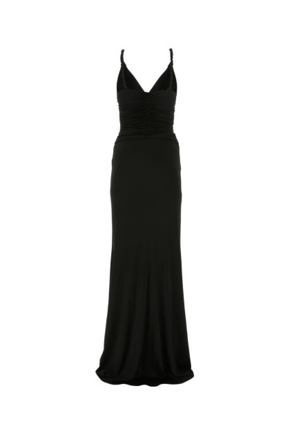 Black stretch viscose long dress