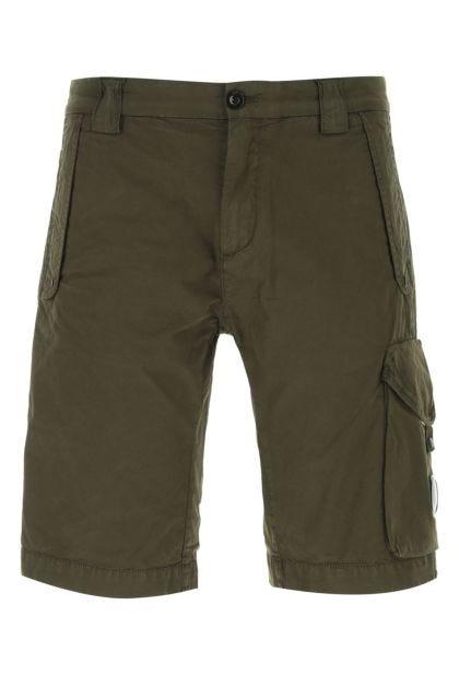 Army green stretch cotton bermuda shorts