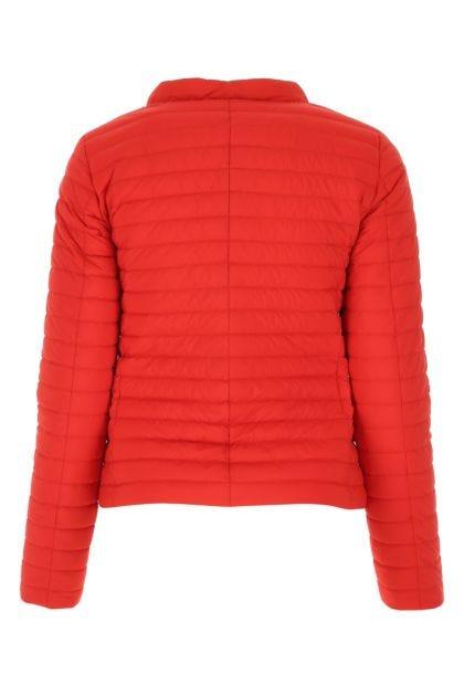 Red nylon reversible down jacket