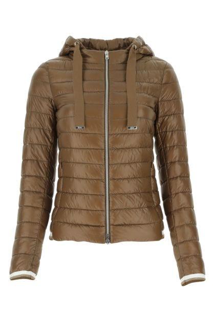 Brown nylon down jacket