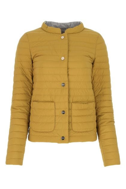 Mustard nylon reversible down jacket