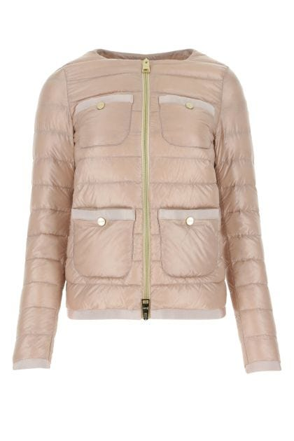Powder pink nylon down jacket