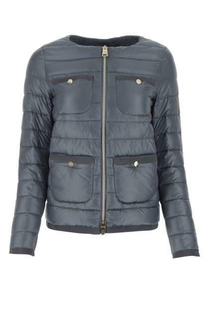 Air force blue nylon down jacket