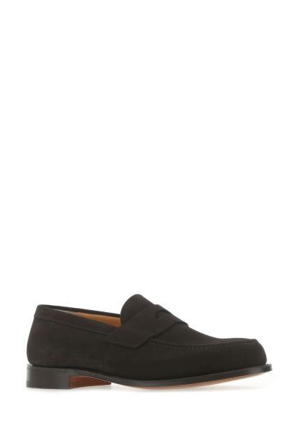 Dark brown suede Dawley loafers