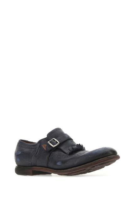 Blue leather mock strap shoes