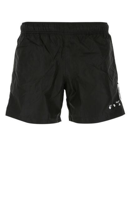 Black nylon swimming shorts