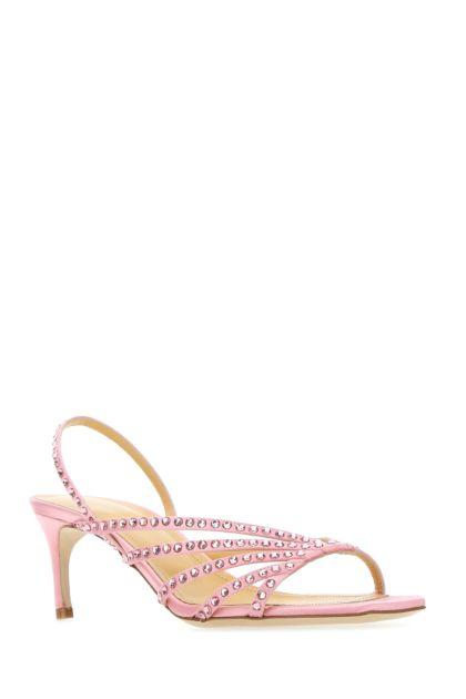 Pink satin sandals