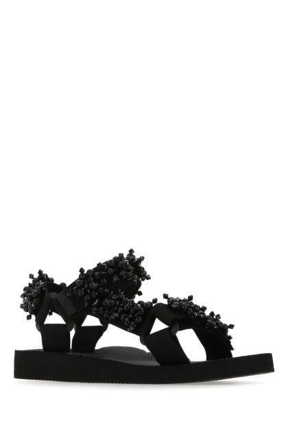 Black fabric sandals