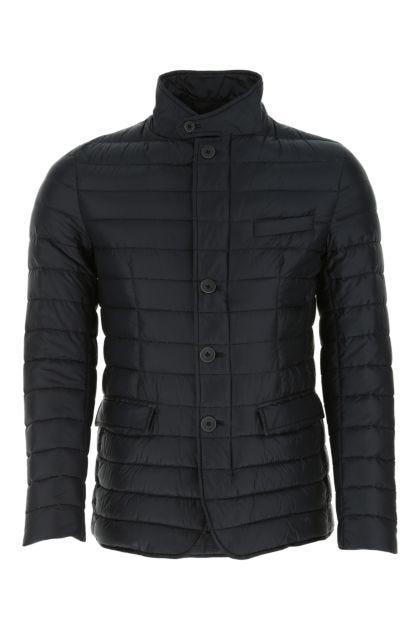 Navy blue nylon down jacket