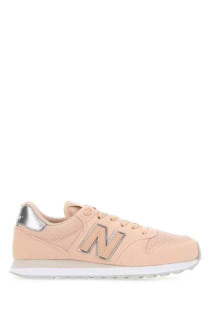 Pastel pink synthetic leather and mesh 500 sneakers