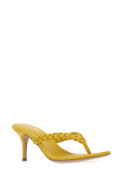 Yellow nappa leather Tropea thong mules