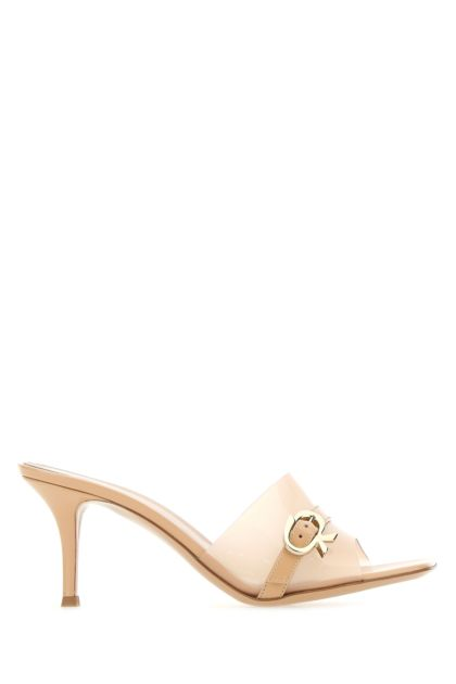 Skin pink leather and PVC Essen mules