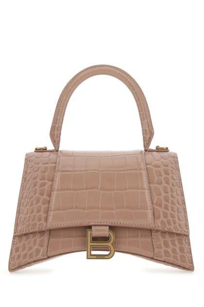 Powder pink leather Hourglass handbag