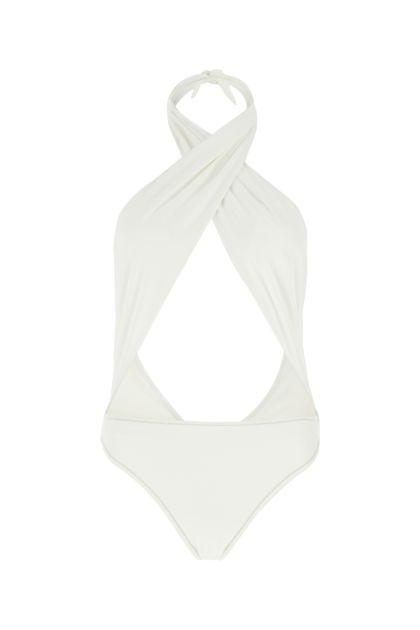 White stretch nylon Italian Stallion swimsuit