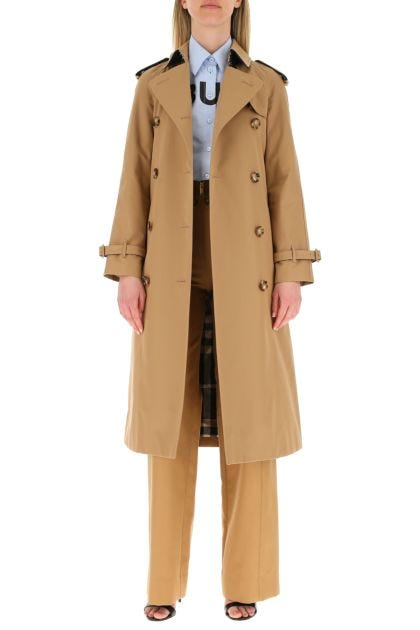Camel cotton trench coat