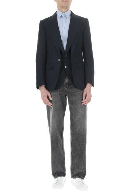 Navy blue linen blazer