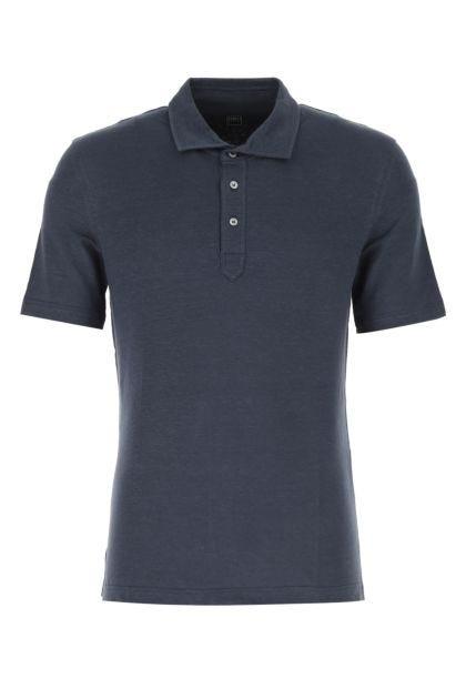 Navy blue stretch linen polo shirt