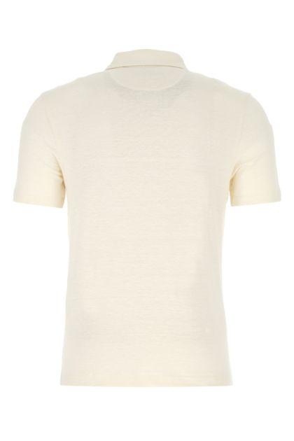 Sand stretch linen polo shirt