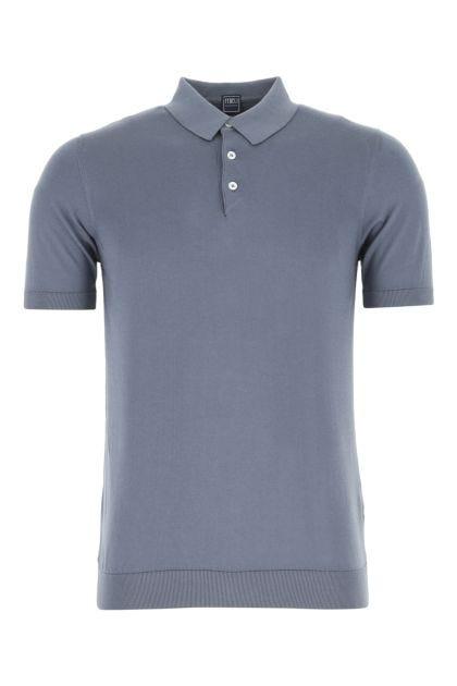 Air force blue cotton polo shirt