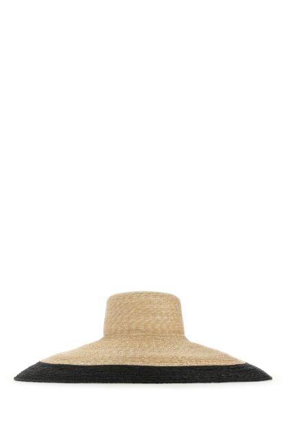 Two-tone straw Capelan hat